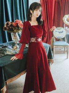Miglior Serie qualità # abito da sera elegante rosso del ricamo dell'annata Lanterna manica unico partito cerimonia nuziale di promenade delle donne Guest abiti 8180