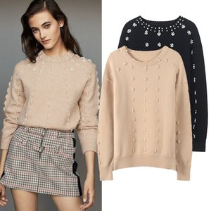 New autumn and winter elegant pearl decorative top loose round neck Pullover Sweater for women
