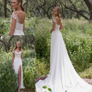 2019 Limor Rosen Lace Appliques Chiffon Illusion Beach Wedding Dresses Split V Neck Backless Off Shoulder Country Plus Size Bridal Gowns