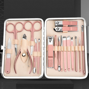 Rose Gold luxuriöse Nagelknipser 18 teiliges Set Nagel Maniküre Pflege Werkzeug Schere Pinzette Maniküre-Set PU-Leder-Paket-freies Verschiffen