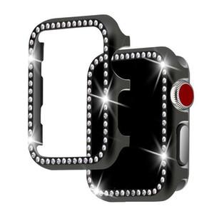 Diamante de alumínio shell Capa para Apple Watch 42 milímetros 38 milímetros de cristal Rhinestone protecção do caso do quadro iWatch Series 3/2/1 de Metal Bumper