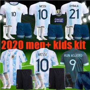 2020 2021 hommes enfants sports football Argentine Jersey 2019 maison loin MARIA AGUERO HIGUAIN 19 20 garçons MESSI Dybala kit adulte shirt football