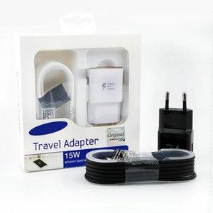 Alta Qualidade 15W Adaptive 100% carregamento rápido EUA / UE viagem carregador de parede + 1.5M Micro cabo USB para Samsung S6 S7 Borda Nota 4 5 Com Box