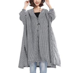 Blouses Vêtements Grandes Tailles Femmes Chemises à Carreaux Fille Longues T-shirts Kimono Femme Tuniques Blusas