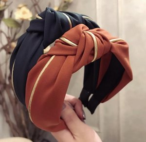 Hair accessories Phnom Penh hit color hair hole Korean adult headband ladies middle cross knotted fabric wide-brimmed headband