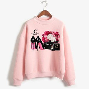 New Women Pullover Flower Brand Perfume Bottle Vogue Sweatshirt Aesthetic Bag Print Hoodie Lipstick High Heels Luxury Street Top