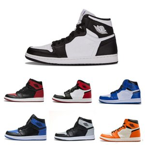 أحذية حار 2020 جديد الجملة 1 العليا OG كرة السلة للرجال النساء احذية ذات جودة عالية لوحة أحذية الكتابة على الجدران أسود أحمر UNC الرياضة GYM 36-45