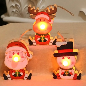 LED ornements en bois rougeoyant Lumière de Noël lumineux Père Noël Bonhomme de neige de cerfs communs Pendentif Arbre de Noël Hanging Décorations enfants jouets cadeaux BH2435 ZX