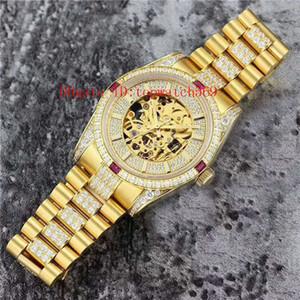 Новым 18k золото Diamond Часы швейцарские часы Swiss Automatic Skeleton openworked Циферблат сапфировое Нержавеющая сталь 316L Супер водостойкой