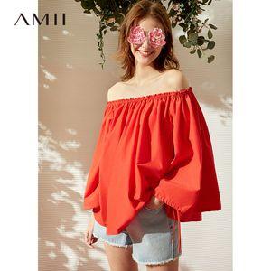 Amii Moda Primavera Verano camisa del hombro mujeres sueltan la llamarada mangas sólido tapas de la blusa 11930113
