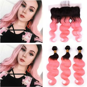 Black To Pink Ombre Peruvian Human Hair Weaves With Frontal Closure Body Wave #1b  Rose Gold Ombre 3bundles With Lace Frontal 4pcs Lot