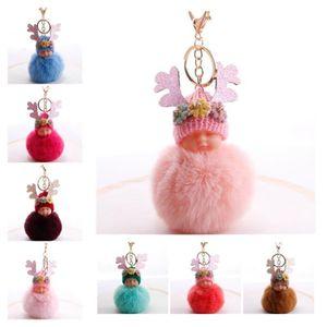 5pcs / Lot новый Sleeping Doll волос Бал брелок Яркий розовый Antlers цветок горный хрусталь шар висит милый мультфильм цветок Key Chain кольцо