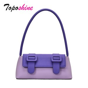 Toposhine Hot Selling Woman Bag Panelled Female Small Shoulder Bag 2020 Baguette Long Portable Quality Leather Women