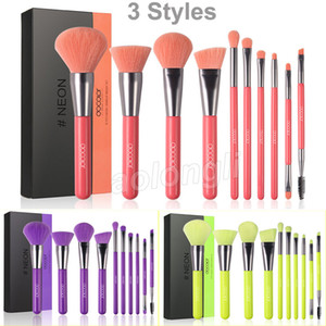 Docolor Trucco Pennelli Neon Pennello per il trucco Peach Set 10 PCS Premium Kabuki Foundation Blacking Face Powder Eyeshadow Beauty Cosmetic Brushes