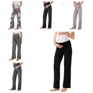 Pantaloni maternità Pantaloni larghi stampati floreali da donna Pantaloni tinta unita comodi Pantaloni gravidanza larghi di colore solido Comodi pantaloni pigiama CLS197