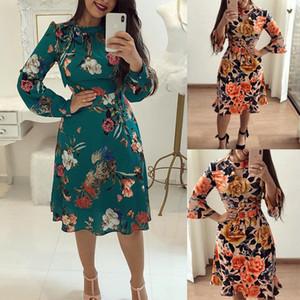 2019 حار المرأة كم فستان طويل طباعة الصيف الكشكشة لونغ متوهج كم فستان زهري عادية اللباس البسيطة
