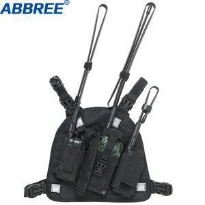 ABBREE 하네스 가슴 전면 팩 파우치 홀스터 캐리 가방 Baofeng UV-5R UV-82 UV-9R 플러스 BF-888S TYT Motorola 워키 토키