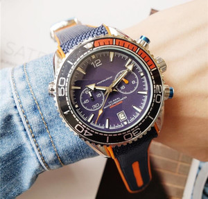 Работает секундомер классический мужские дизайнерские часы световой хронограф VK Япония кварцевые человек роскошные часы Часы профессиональный 007 наручные часы