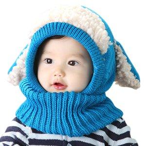 Winter Baby Hat Neck Warmer Joint Kids Children Dog Caps for Boys Girls Crochet Knitted Beanie Hats Infant Toddler Fashion