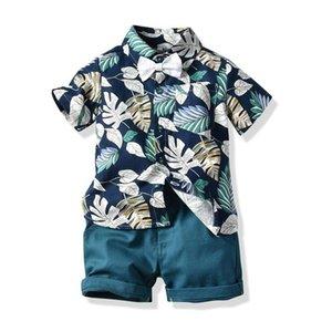AiLe Rabbit Summer Kids Cotton Boys Suits T-shirt + Pants 2pcs Suit Short-sleeved Striped Short Children's Cartoon Whale