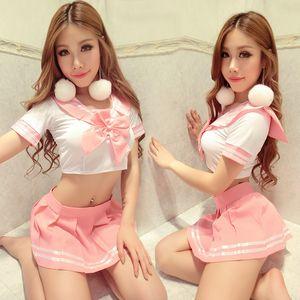 Mulheres uniformes escolares de sexo Japonês Moda Coreano Camisa Curta Saias Plissadas Marinheiro Exótico para a menina Rosa Kawaii Harajuku Seifuku C18122701