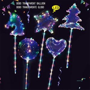 LED BoBo Luminous Balloon Transparent 3M Colorful Lights Balls Chirstmas Wedding Party Decor Gifts Tree Unicorn Star Shape C121902