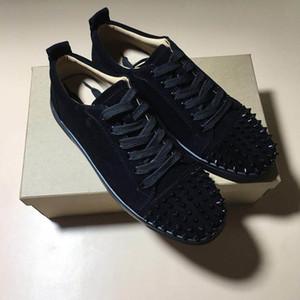 2019New desenhador de moda Sneakers Low Cut Spikes Flats sapatos vermelhos sapatos causual inferior para homens e mulheres com caixa