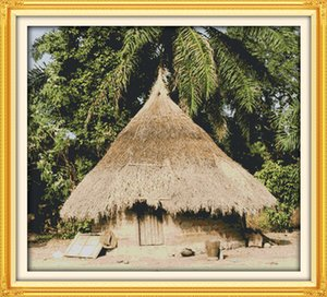 On Local  11CT Cabin Home Decor House ,Handmade Painting Embroidery Stitch Counted Sets Cross Print Canvas African DMC 14CT Needlework Frai