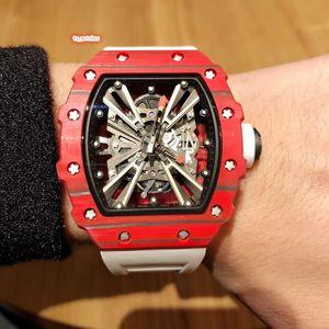 Elementos de corrida dos homens relógio esportivo vermelho caixa de fibra de carbono relógio de pulso pulseira de borracha relógio automático relógios mecânicos