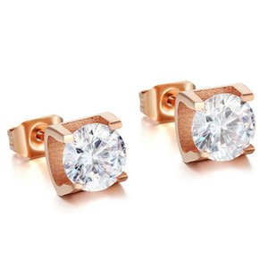 2020 New Rose Gold Color Big Earrings Studs Fashion Stainless Steel Brincos Jewelry for Women