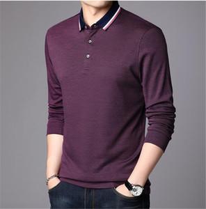 Moda Katı Renk Polo Gömlek Erkek Tasarımcı Uzun kollu Klasik Polos Gevşek Standı yaka Erkek Giyim