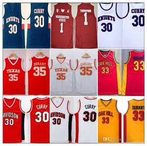 NCAA Davidson Texas College cavaleiros Oak Hill High School de jersey Stephen Curry Kevin Durant Thompson camisas Klay WashingtonState pumas
