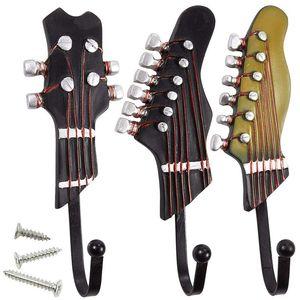 Vintage Guitar Shaped Decorative Hooks Rack Hangers for Hanging Clothes Coats Towels Keys Hats Metal Resin Hooks Wall Mounted He
