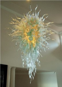 LED Clear White Modern Lustres candelabro iluminações LED Lâmpadas Blown Art Glass Chandelier Candy Bar Decoração