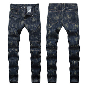 Men's Distressed Ripped Skinny Jeans Fashion Mens Jeans Slim Motorcycle Moto Biker Mens Denim Pants Hip Hop Men Jeans 1238
