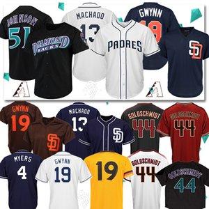51 Randy Johnson Arizona Jersey Diamondbacks 13 Manny Machado San Diego Baseball JerseyPadres 44 Paul Goldschmidt 19 Tony Gwynn 4 Meyers heiß