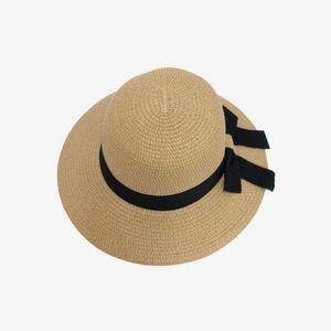 Women Summer Hat Beach Straw Hat with Band Panama Ladies Cap Fashionable Handmade Casual Flat Brim Bowknot Sun Hats VT0134