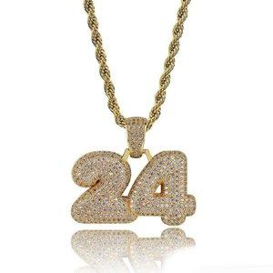 numeri bolla hip hop 24 diamanti collane ciondolo di cristallo ciondoli uomini di lusso placcato oro 18k zirconi rame collana da regalo