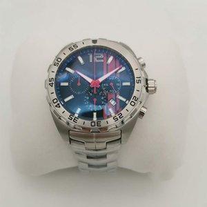 Guarda orologio Montre De Luxe design di lusso F1 Swiss Watch 46 millimetri Cronografo Movimento al quarzo dell'acciaio inossidabile degli uomini di cinghia da polso Affari