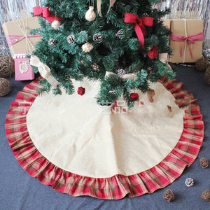 Árbol de Navidad Faldas Bowknot Rejas rojas remiendo del cojín de lino ornamento Festival Mat Suministros de la decoración del hogar hh 26 5zt
