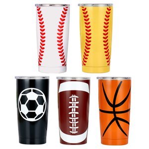 20OZ Baseball Tumbler Mugs Softball Basketball Football Stainless Steel Cups Travel Car Beer Cups Vacuum Insulated Mugs 5 Styles M1053