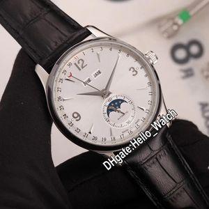 Control de nuevo Maestro calendario perpetuo 1558420 Luna Fase automática del reloj para hombre esfera blanca de la caja de acero correa de cuero Relojes caballero Hello_Watch