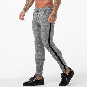 European and American Hot Selling Fashion Casual Trousers Men Skinny Plaid Pants High Elastic