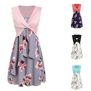 Womens Designer Summer Printed Dress Ladys Vest Strap Two-piece Dresses Womens Vest + Suspender Dress Casual Skirt 2020 New Fashion Style