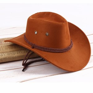 KLV Western Mens Cowboy Hats Wide Brim Travel Sun Hat Cowboy Cowgirl Faux Suede Triple Strings Homme Cowboy Summer Sun Hat