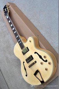 Factory Custom Körper hohl natürliche Holzfarbe 22 Wort E-Gitarre mit Gold-Hardware-Zubehör, 2 Pickups, Fabrik Großhandel benutzerdefinierte cu