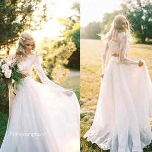 2019 romântico dois pedaços vestido de noiva boêmio elegante chiffon mangas compridas lace verão praia vestido de noiva mais tamanho feito sob encomenda