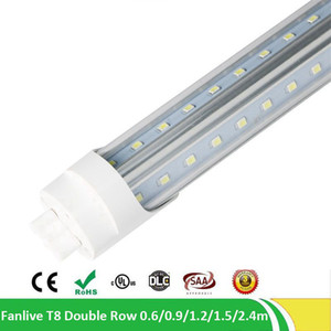 30pcs / lot 36W T8 더블 행 V 모양의 튜브 4 피트 1200mm 192 LED SMD 2835 85-265V Led 형광 조명