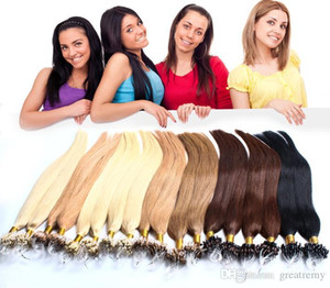 (10 Colors Available) Indian Remy Hair Straight Human Hair 20inch 24inch Micro Ring Links Hair Extensions 100g pc