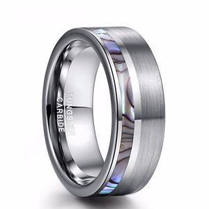 Luxus Hochglanzpoliert Klassische Einfache Abalone Shell Männer Stahl Wolfram Ring Silber Männer Ehering Schmuck